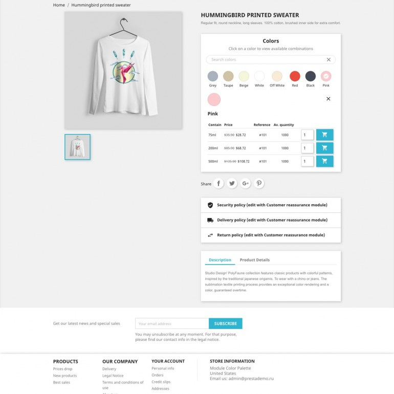 PrestaShop Module Color Palette