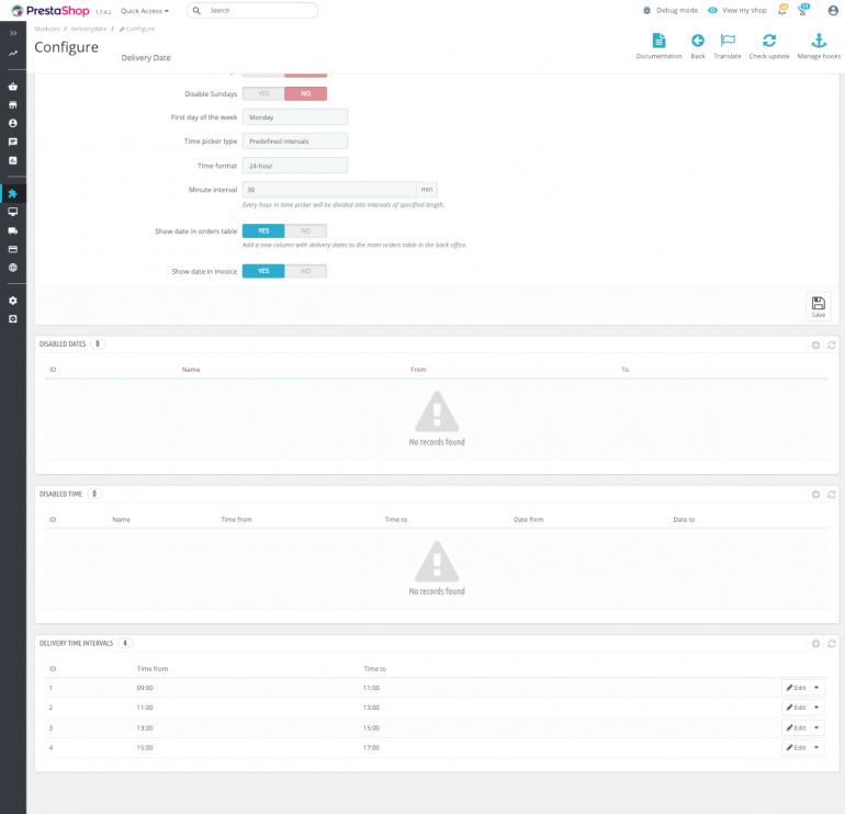 Модуль PrestaShop Время и Дата доставки
