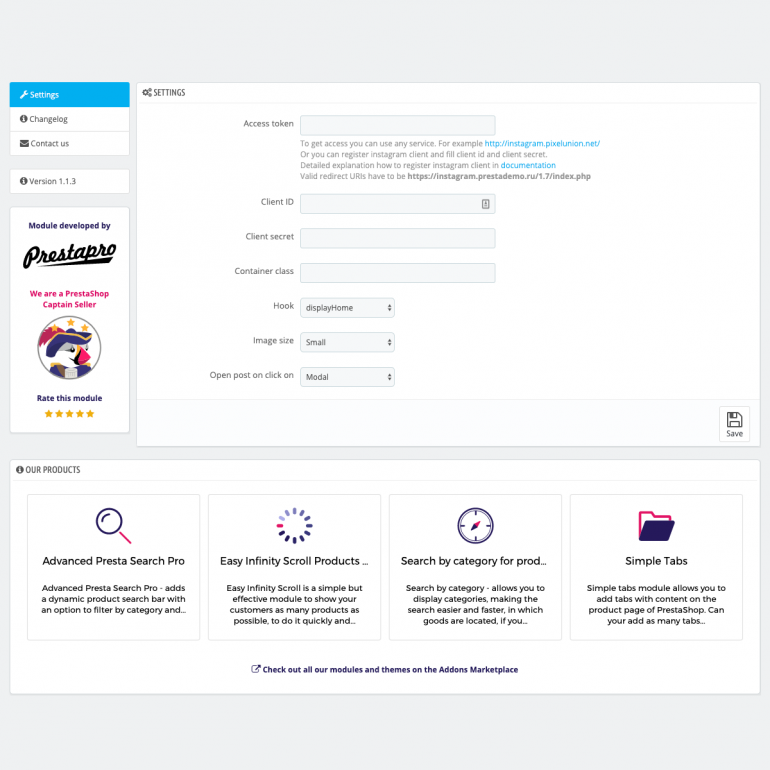 Module PrestaShop Instagram