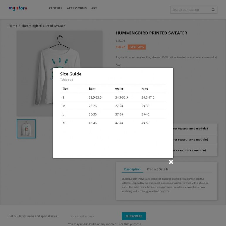 Module PrestaShop Products Size chart guide