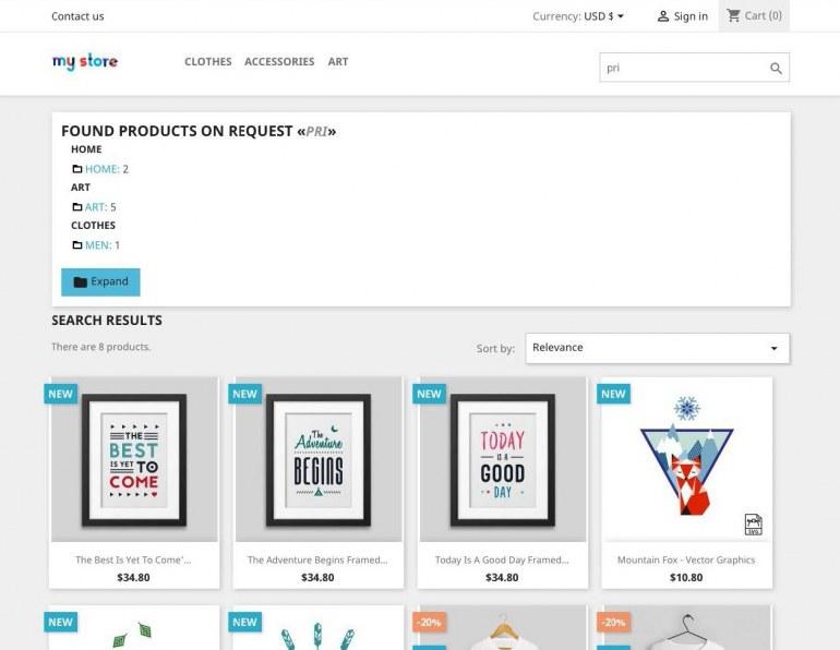 Модуль PrestaShop Поиск по категориям