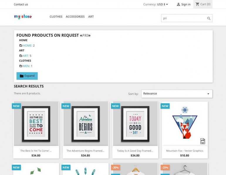 Module PrestaShop Search by category