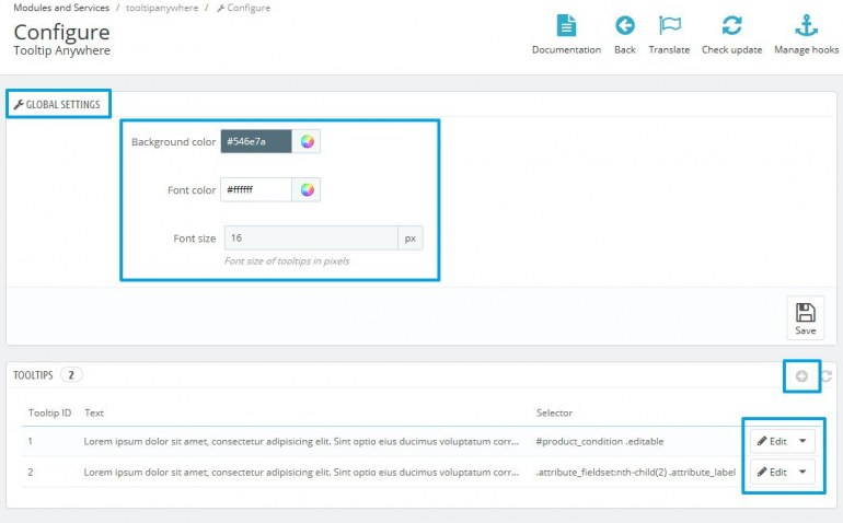 Модуль PrestaShop Настраиваемые Подсказки