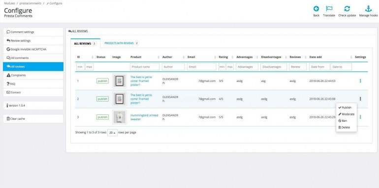 Модуль отзывов и комментариев для PrestaShop