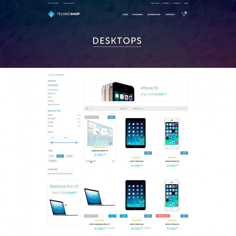 Шаблон Prestashop для магазина Телефонов