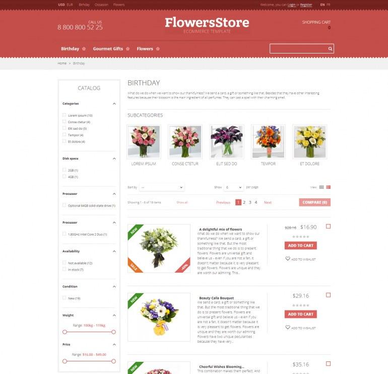 Шаблон Prestashop Цветы