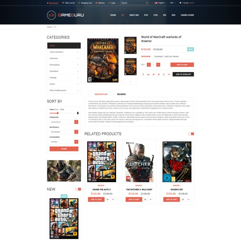 Template PrestaShop Video Game