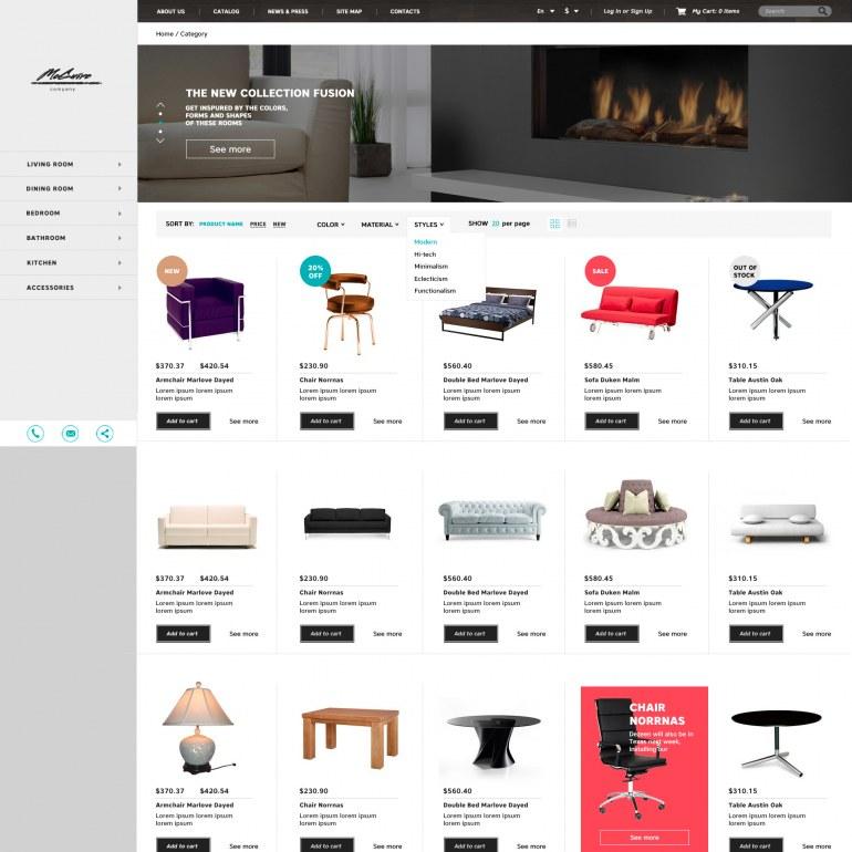 Шаблон Prestashop интерьер и мебель
