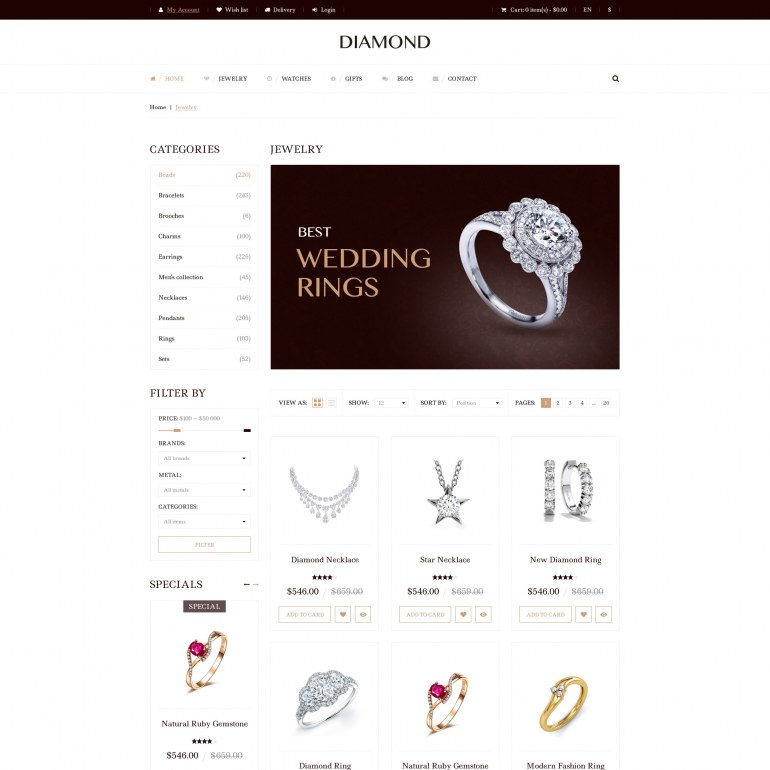 Responsive Template PrestaShop Jewelry