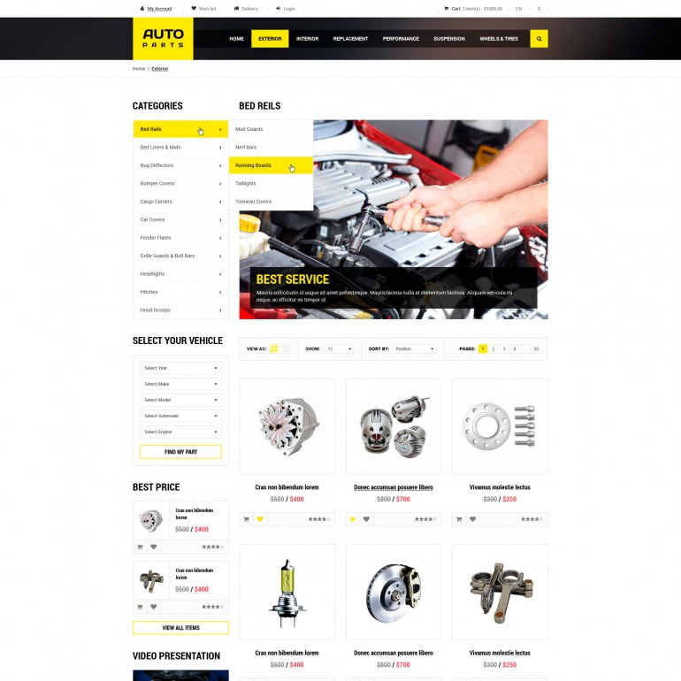 PrestaShop Template Cars